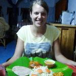 Linda (student from Holland) having an Indian Dinner