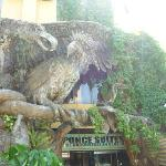 Two Philippine Eagles, the country's symbols of hope and freedom, guard the entrance to the hote