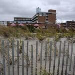 The Grand Hotel from the beach - yes, I went for a walk on the beach (and around town) in the ra