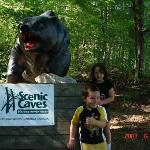 Haley was too affraid of the bear to get any closer. Silly kid.