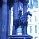 GoMA statue with traffic cone