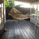 The personal pool and hammock.