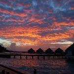 The sunset when we was in the water villa