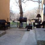 outdoor seating and BBQ grills