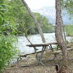 benches in the backyard, by the river