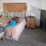 the king bed with gas fireplace