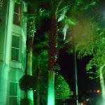 Outside the hotel at night