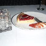 Dessert, pear tart with cabernet sauce--YUM!