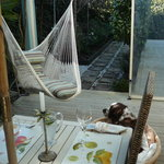 Outdoor dining and relaxing hammocks
