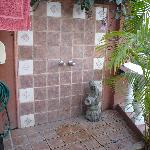 shower next to pool