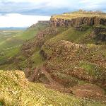 View of the Sani Pass from Sani Top Chalet