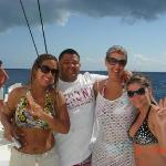 Me, Jonathan, Lori, & Nathalie coming back on a party boat from Saona Isle! That  was one of the