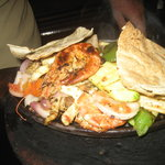 The seafood kofta was amazing - grilled fish, prawns and squid and served on a sizzling plate wi