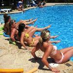 Doing aerobics at the pool!