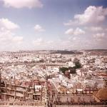 looking west from Giralda Tower, Seville. Catedral in the foreground and the Arquitectura civil