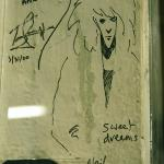 Neil Gaiman's signature on a post in Powell's Books in Portland
