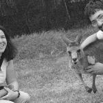 Luke and I petting kangaroos at the Koala Sanctuary.