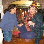 Winter fun by the parlor fireplace