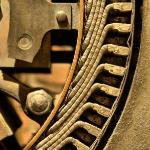 Electrified - 1920's electric generator in a cotton mill.  It's been sitting a while.  Notice th