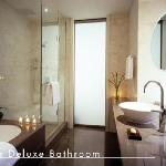 The average size of the Deluxe bathroom is 80 sq feet, with sliding frosted glass doors. Walled