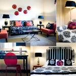 The Austin Suite with red accents, a king bed and queen bed
