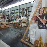Mardi Gras World where they were getting the SuperBowl Football ready for the float.. Drew Brees