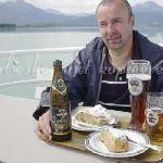 apfelstrudel and beer on board