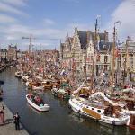 Sailboats along the Graslei, Ghent