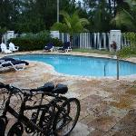 The pool and our free bikes.
