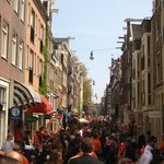 Amsterdam in orange!!  The 9 little streets crowded with people.