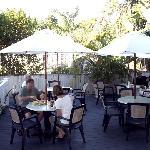 The outside breakfast area.