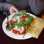 Spinach Salad, lots goat cheese (I love goat cheese so it was tasty to use the bread to wipe up