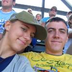 ME and Steve at Safeco watching the mariners - guess what! it was kids day, and all the kids who