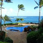 View from lanai over pool -- not panoramic, but still magical