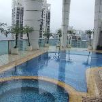 Pool on roof at hotel