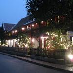 The welcoming exterior at night
