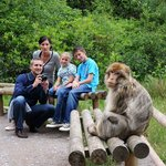 Family with monkey taking picture