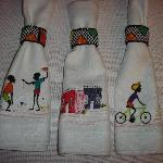 Handpainted serviettes in breakfast room