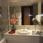 Bathroom. Rose petals and bath oils provided as part of Romantic Package