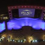 Night view from terrace of poolside entertainment area
