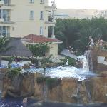 View of cliff jumpers from balcony