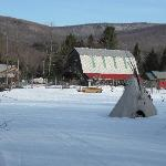 Dog sledding barn and our cabin on right