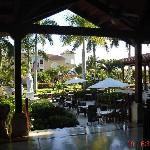 Looking into the courtyard from the lobby