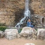 Me in front of the water fall train tunnel Fiesta Texas