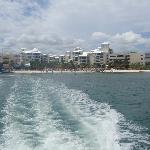 view of hotel when riding off in ferry to isla de mujeres