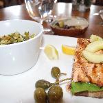 salmon with pasta salad