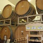 wine in the oak barrels