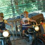 Connor and Garrett riding their motorcycles.
