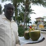 Butler with cocunut drinks