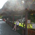 Bus stop at the resort